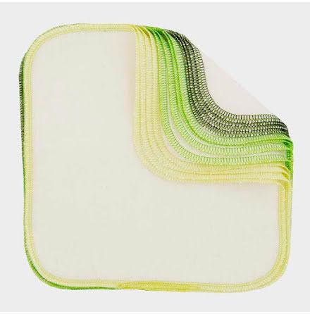 Tvättlappar, ekologisk bomull, 12-pack, med färgade kantsömmar