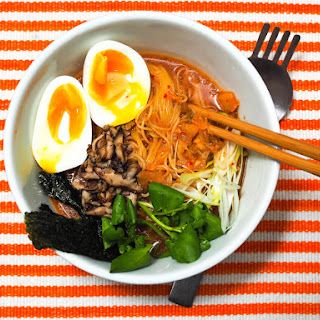 Quick Kimchi Ramen With Shiitake Mushrooms and Soft-Cooked Egg.