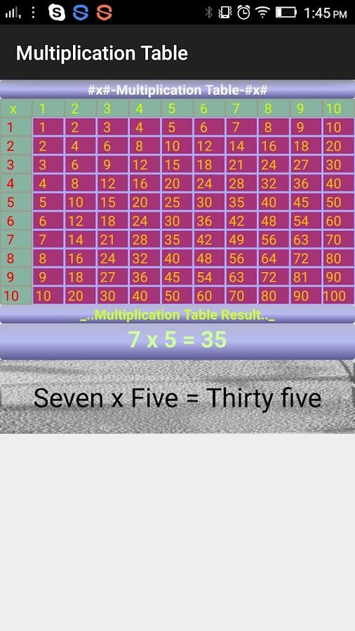 Digi Multiplication Table- screenshot