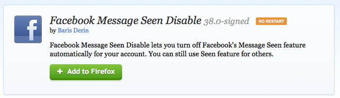 Disable facebook seen feature in firefox