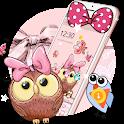Cute Cartoon Owl Bowknot Theme icon