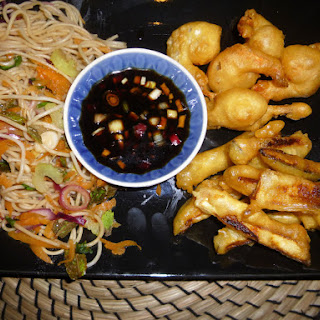Tempura Prawn's and Courgette's with a Soy Dipping Sauce and Noodle Salad.