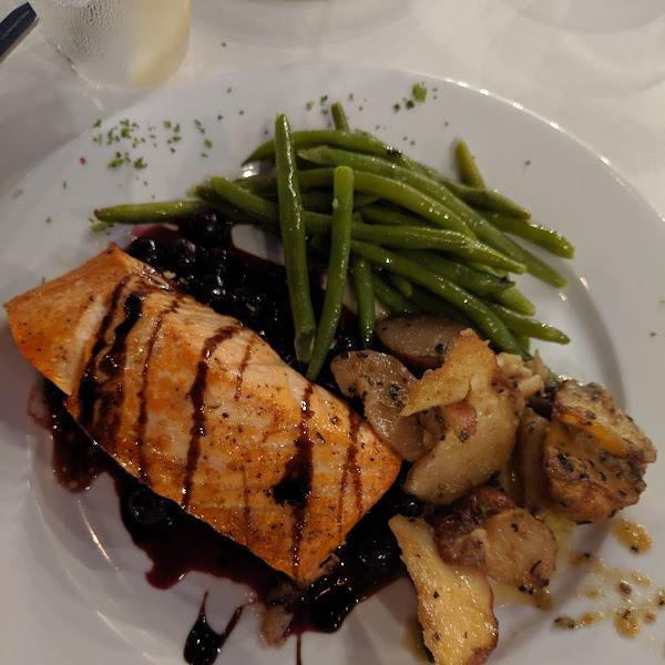 salmon with blueberry balsamic glaze