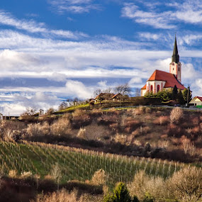 Church on the hill by Peter Zajfrid - Travel Locations Landmarks ( clouds, hill, sky, church )