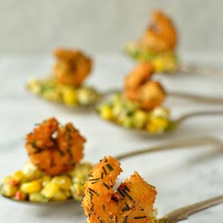 Crispy Coconut King Prawn & Sweetcorn, Avocado & Feta Salsa Appetizer Spoons.