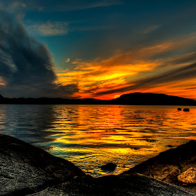 Just another sunset by Sondre Gunleiksrud - Landscapes Sunsets & Sunrises ( canon, clouds, reflection, hdr, colorful, clouds and sea, sea, reflections, seascape, seaside, sunlight, mirrored reflections, sunset, sundown,  )