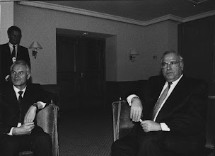"""Photo: DAVOS/SWITZERLAND, JAN 1990 - East German Prime Minister Hans Modrow and West German Chancellor Helmut Kohl captured at the Annual Meeting of the World Economic Forum in Davos in 1990. Copyright <a href=""""http://www.weforum.org"""">World Economic Forum</a> (<a href=""""http://www.weforum.org"""">http://www.weforum.org</a>)"""