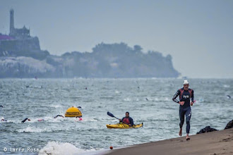Photo: Andy Potts exits the swim first at the 2014 Escape from Alcatraz Triathlon on June 1, 2014 in San Francisco, CA