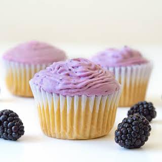 Vanilla Cupcakes with Blackberry Coconut Cream.