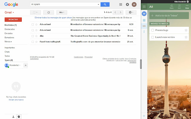 Wunderlist in Gmail - Chrome 웹 스토어