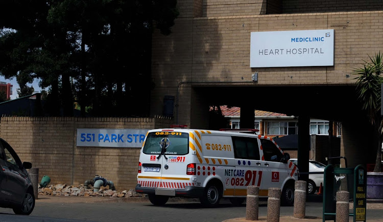 Ambulance enter the  Mediclinic  Heart Hospital . File Picture: SOWETAN/SUNDAY WORLD/TSHEKO KABISIA
