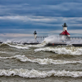 Michigans winds by Charles Anderson Jr - Landscapes Waterscapes ( light house )