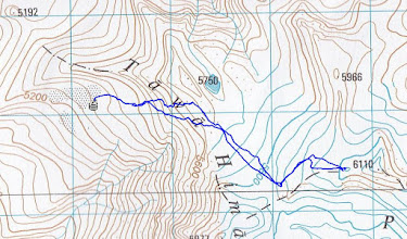 Photo: Trace of the way to the 6110m summit