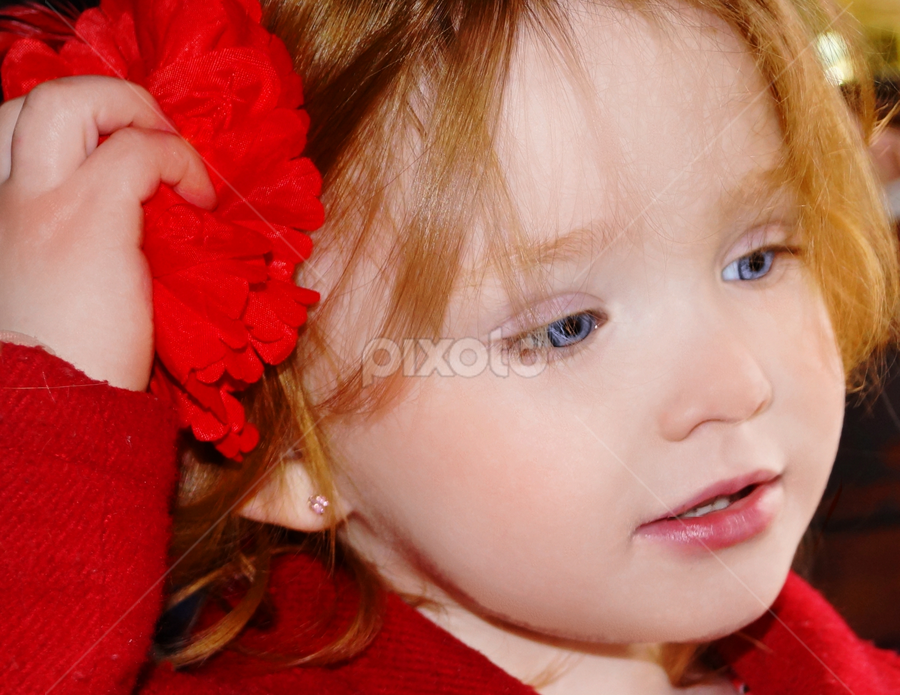 Ready for Valentines Day by Cheryl Korotky - Babies & Children Child Portraits ( child, fashions for holidays, model, red hair, dressing in red, a heartbeat in time photography, valentines day, blue eyes, nevaeh, christmas day, children wearing headbands,  )