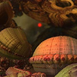 Red Moon by Glenda Popielarski - Illustration Sci Fi & Fantasy ( m3d, moon, red moon, science fiction, sci-fi, mb3d, sky, red, abstract art, mandelbulb 3d, fractal art, digital art, nightsky, night, fractal, sci fi, night sky, raw fractals )