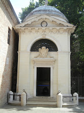 """Photo: We stopped at Dante's tomb, which is the other major site to see in Ravenna besides the Byzantine Churches. Dante Alighieri was Florentine but spent his last few years in Ravenna.  His body was fought over for many years. Read about it at https://en.wikipedia.org/wiki/Dante_Alighieri (see """"Legacy"""") if that's of interest."""