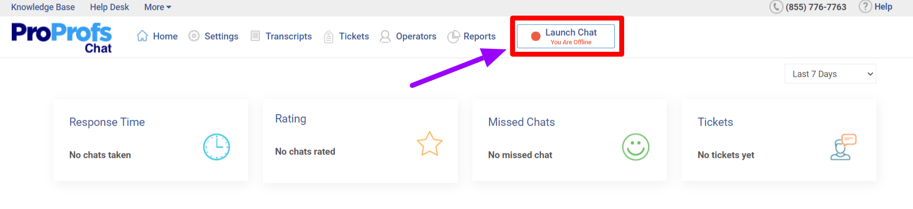 Click on launch chat to enable live chat