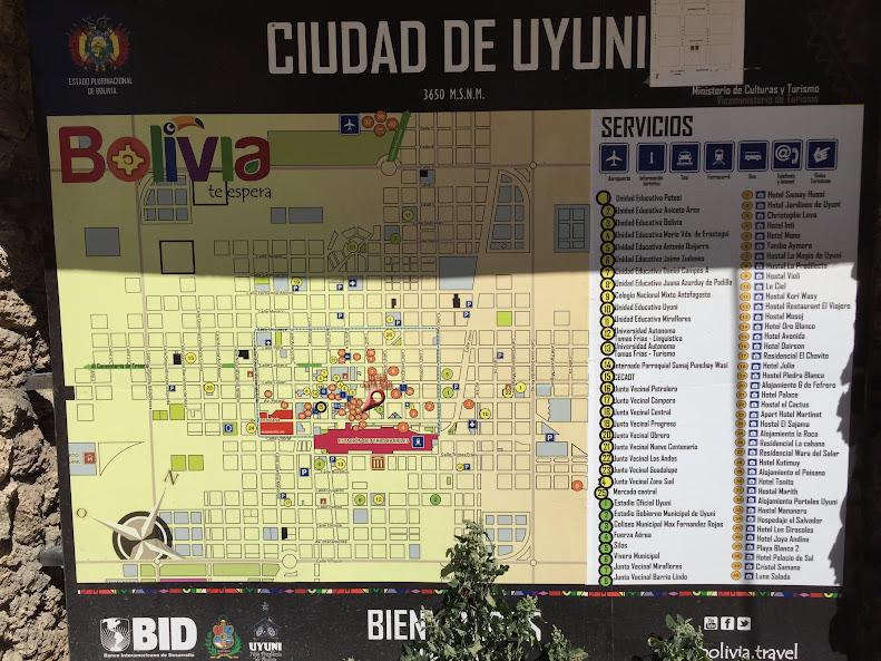 ウユニの街のマップ