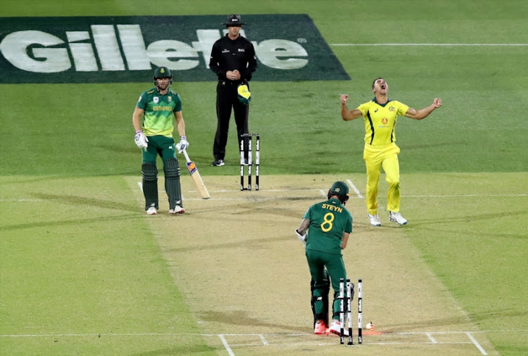 Marcus Stoinis of Australia celebrates after taking the wicket of Dale Steyn of South Africa during game two of the Gillette One Day International series between Australia and South Africa at Adelaide Oval on November 09, 2018 in Adelaide, Australia.