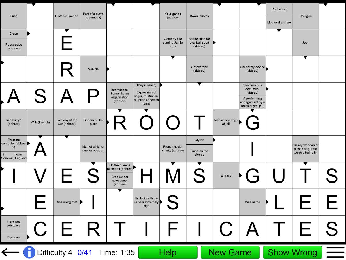 arrow crossword screenshot