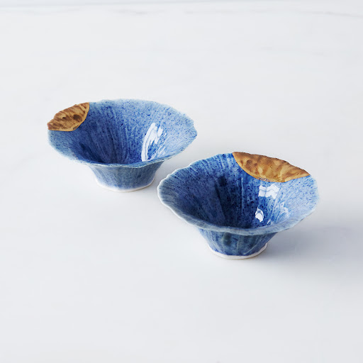 Blue Gold-Dipped Pinch Bowls (Set of 2)