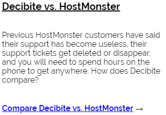 Decibite vs HostMonster