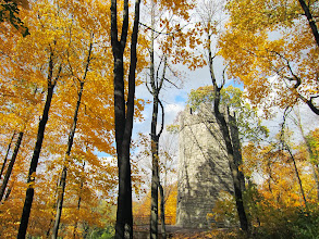 Photo: Golden trees surrounding a stone castle at Hills and Dales Metropark in Dayton, Ohio.