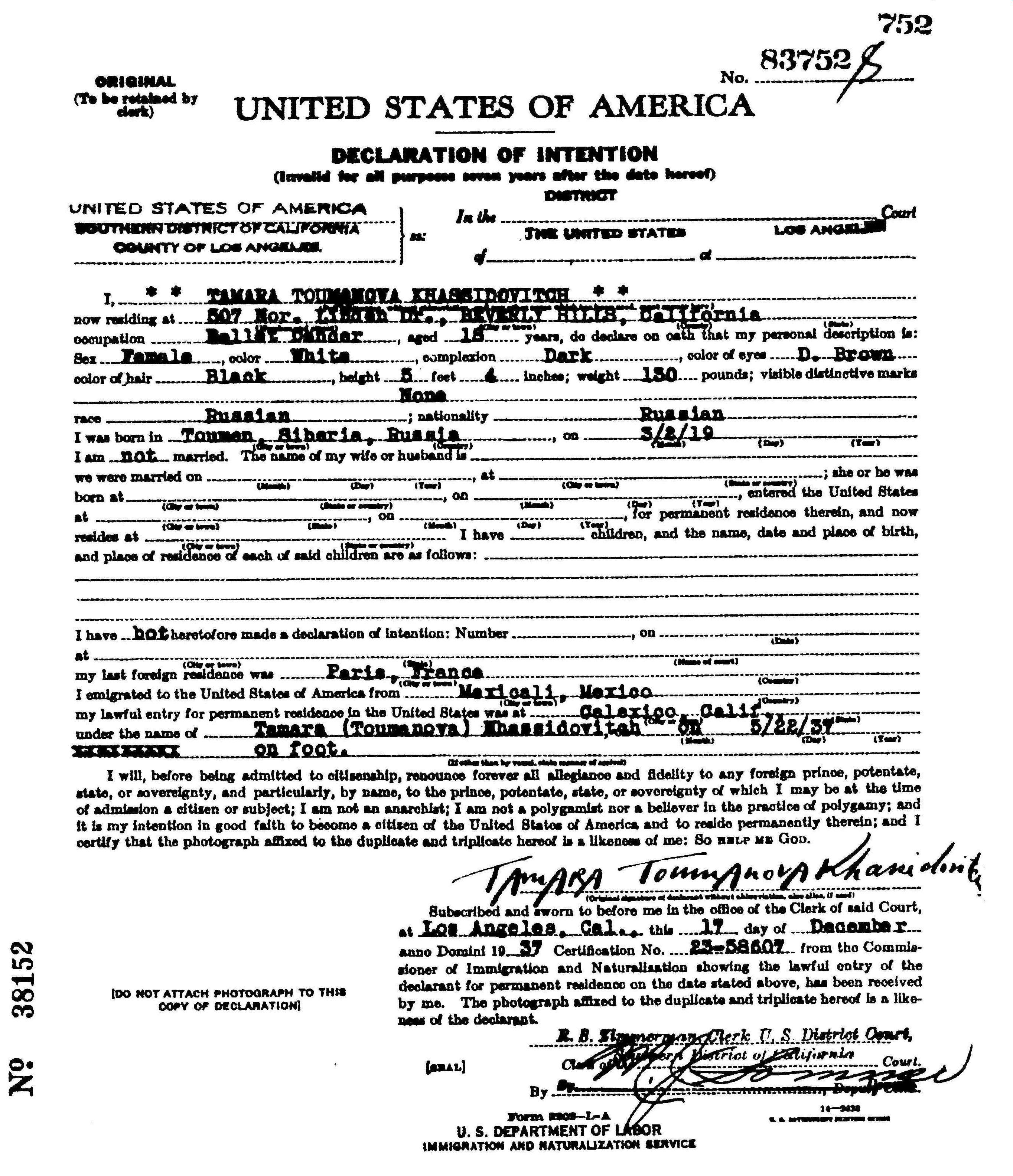 Photo: Tamara Toumanova Khassidovitch   Анкеты заполненые Тамарой, Евгенией и Владимиром в 1937 году. Скопировано с сайта http://ancestry.com/. Результаты поиска на указанные фамилии.