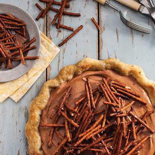 Chocolate Peanut Butter Mousse Pie with Pretzel Crunch.