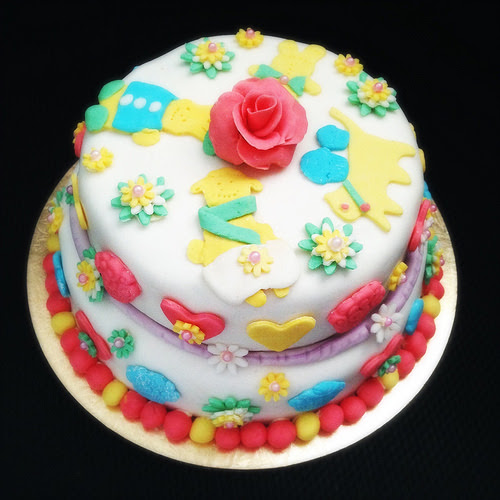 Little Girls Pink Fondant Birthday Cake Part II II