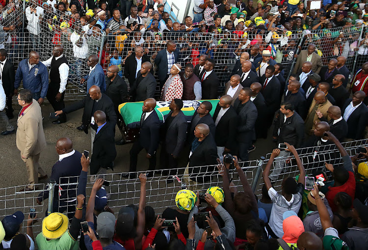 Winnie Madikizela-Mandela was given a hero's welcome home on Friday evening ahead of her funeral on Saturday.