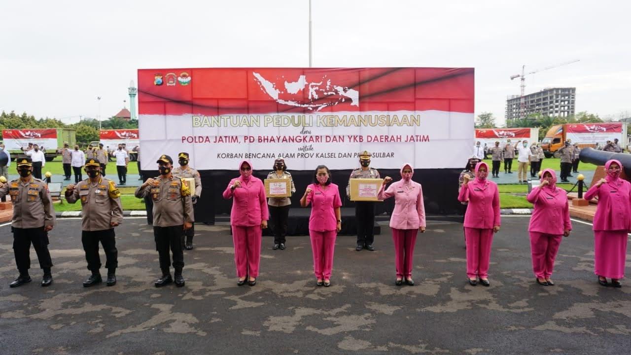 Wakapolda dan Bhayangkari Berangkatkan 25.165 Ribu Paket Sembako ke Korban Banjir dan Gempa Bumi