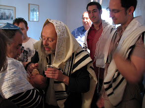 Photo: 8 days old - the Brit (circumcision). From left to right: Vera's hair, Gregory (Vera's father), Meir (Vera's cousin), Rabi Yonatan Rasiel, Itamar (Ariel's father), Eviatar (Ariel's brother and the godfather), Ariel.
