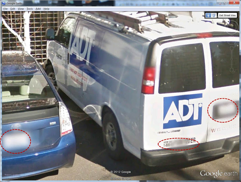 Photo: License plate blurring in Google Street View