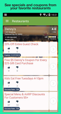 Restaurant Coupons & Specials - screenshot