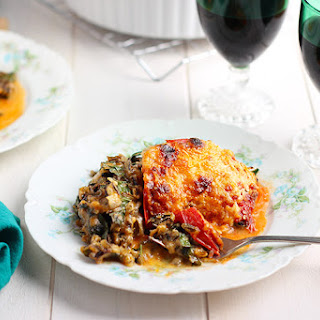 Wild Rice Kale Casserole with a Cheddar Cheese Sauce
