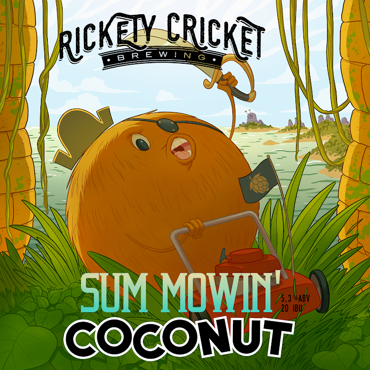 Logo of Rickety Cricket Brewing  Sum Mowin' Coconut