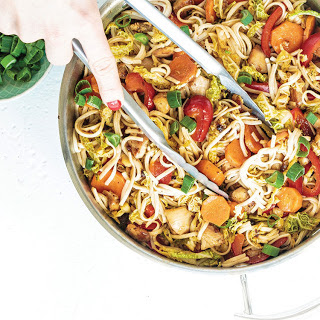 Chicken & Vegetable Stir-Fry with Brown Rice Noodles.