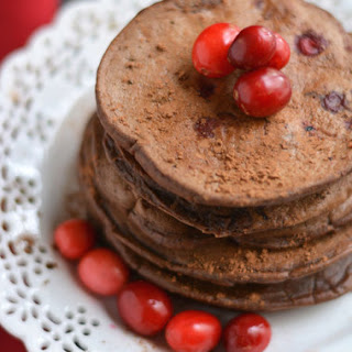 Cranberry Hot Cocoa Pancakes {GF, Low Cal}