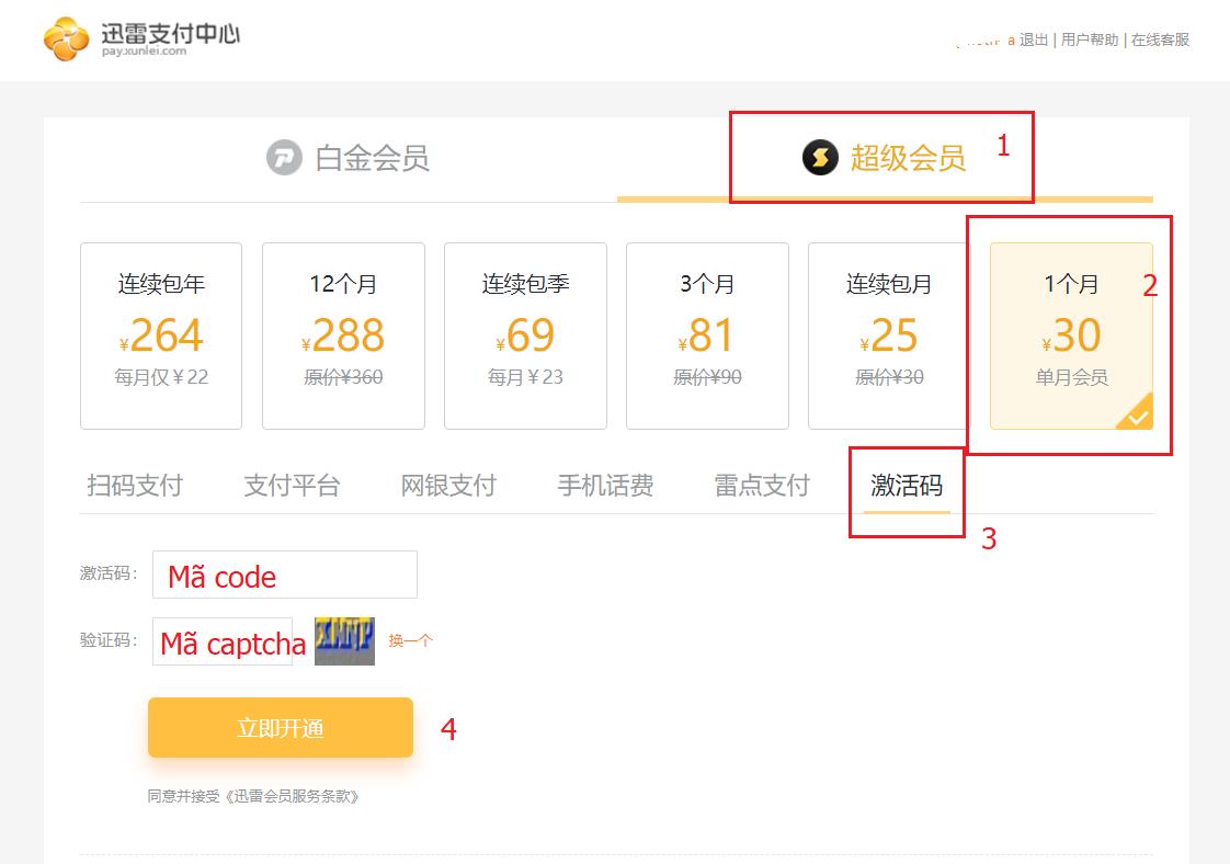 Hướng dẫn cách nạp mã thẻ Xunlei Platinum VIP member 2