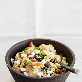 Quinoa Salad with Shrimp, Goat Cheese and Olives.