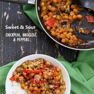 Sweet and Sour Chickpeas Peppers Broccoli