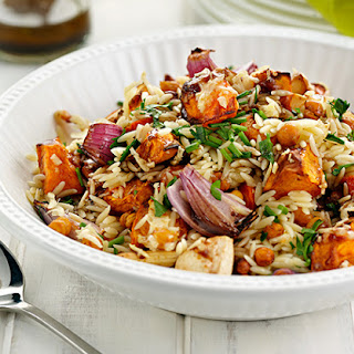 Risoni and Chickpea Salad with Cheesy Vegetable Clusters