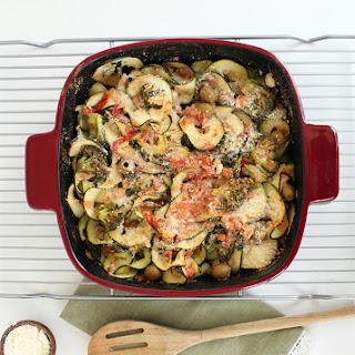 Baked Zucchini Pasta with Pancetta, Olives and Broccoli Recipe