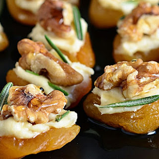 Dried Apricot and Blue Cheese Canapes with Walnuts.