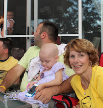 Photo: Our baby niece Hailey in her Daddy's arms...The littlest member of Team Nanny is so brave!  Her parents LIVESTRONG!