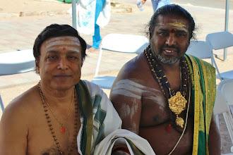 Photo: Volunteer Mahadevan and Bhairavasundaram Gurukkal decided the Thevaram songs to be chanted during yagnam