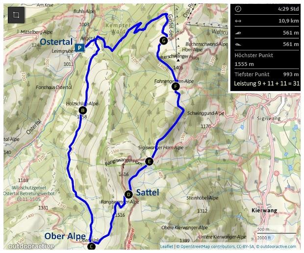 Map Karte Route Gunzesried Ostertal Ober Älple Rangiswanger Alpe Allgäu Nagelfluhkette