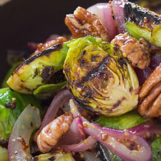 Grilled Brussels Sprouts with Warm Mustard Dressing.