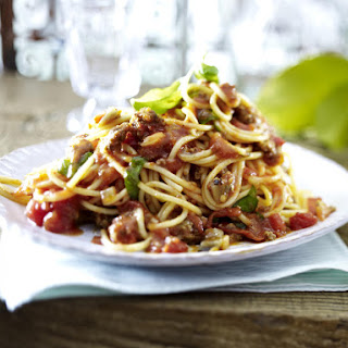 Spaghetti with Eggplant and Meat Sauce